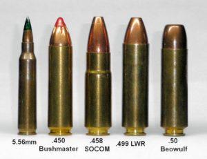 the 458 socom vs. 50 beowulf extra big bore ar cartridges